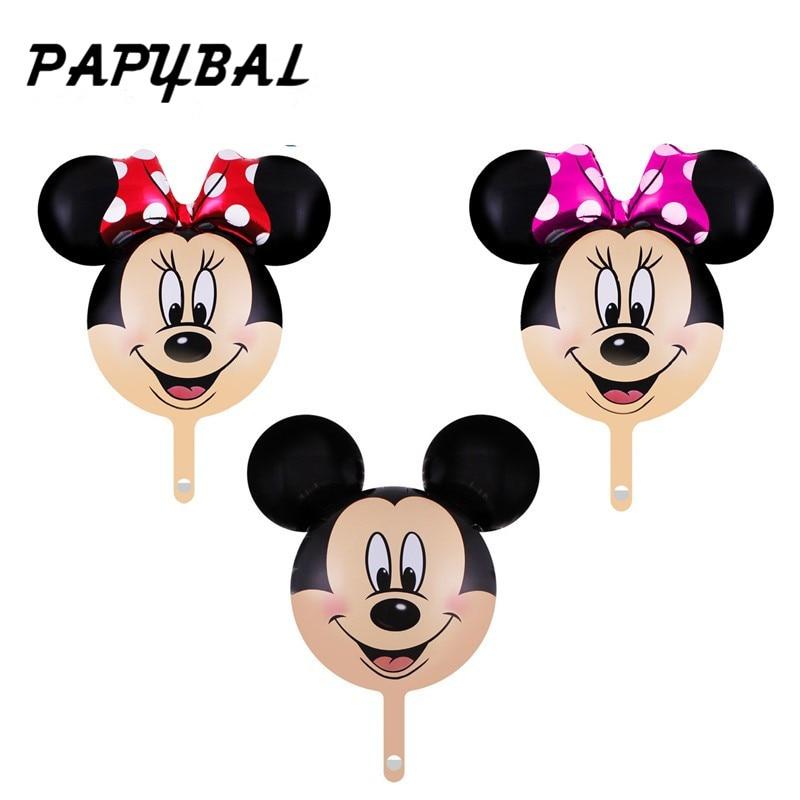 20pcs Cute Mickey Minnie Balloons Mini Mickey Minnie Head Foil Ballons Baby Birthday Party Wedding Decor Air inflatable Globos