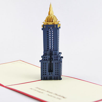 Cubic life 3D greeting card US Chrysler Building Creative New York tourism souvenir card