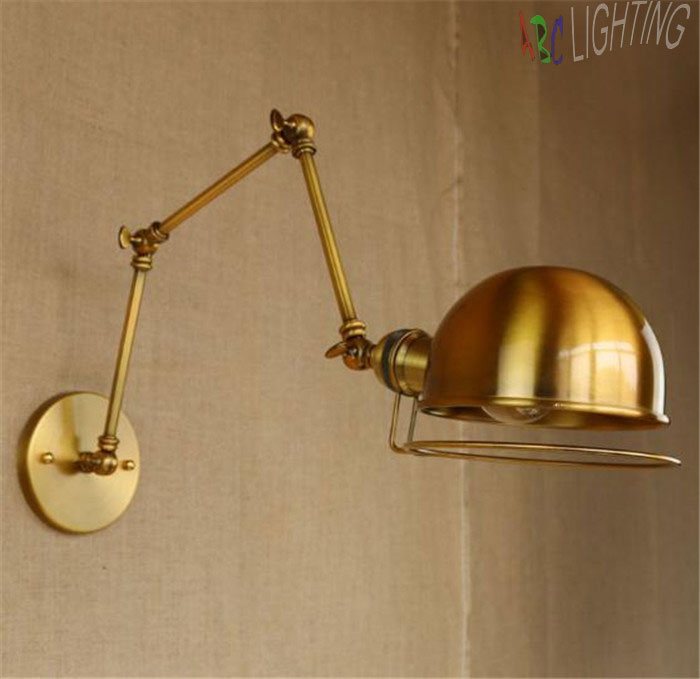 Gold Industrial Wall Lights : ?Free shipping Retro Edison Industrial ? Gold Gold Vintage Wall Lamps light ? With With Long Arm ...