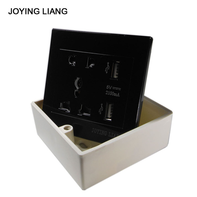 US $9 99 |Joying Liang Black USB Socket 110 250V 10A Wall Outlet Panel USB  Output Sockets (Send a Free Socket Box)-in Electrical Sockets from Home