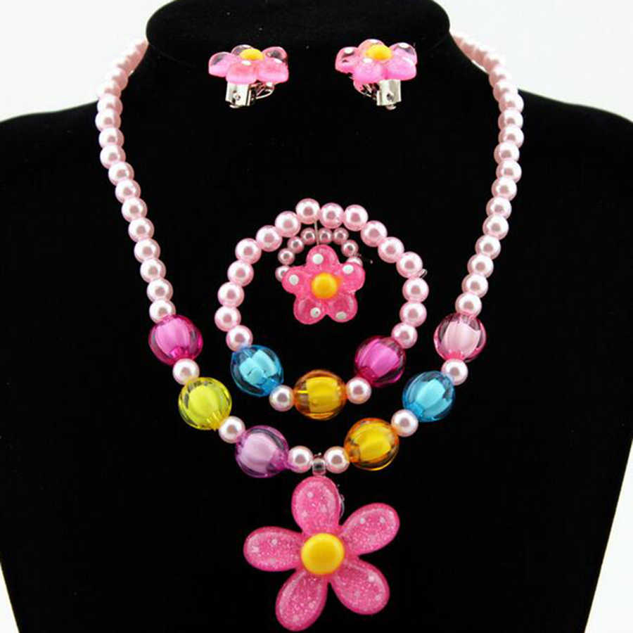 Candy Beads Resin Plastic Kids Jewelry Set for Children Flower Pendants Cute Necklace Bracelet Ring Earrings Baby Jewelry T140