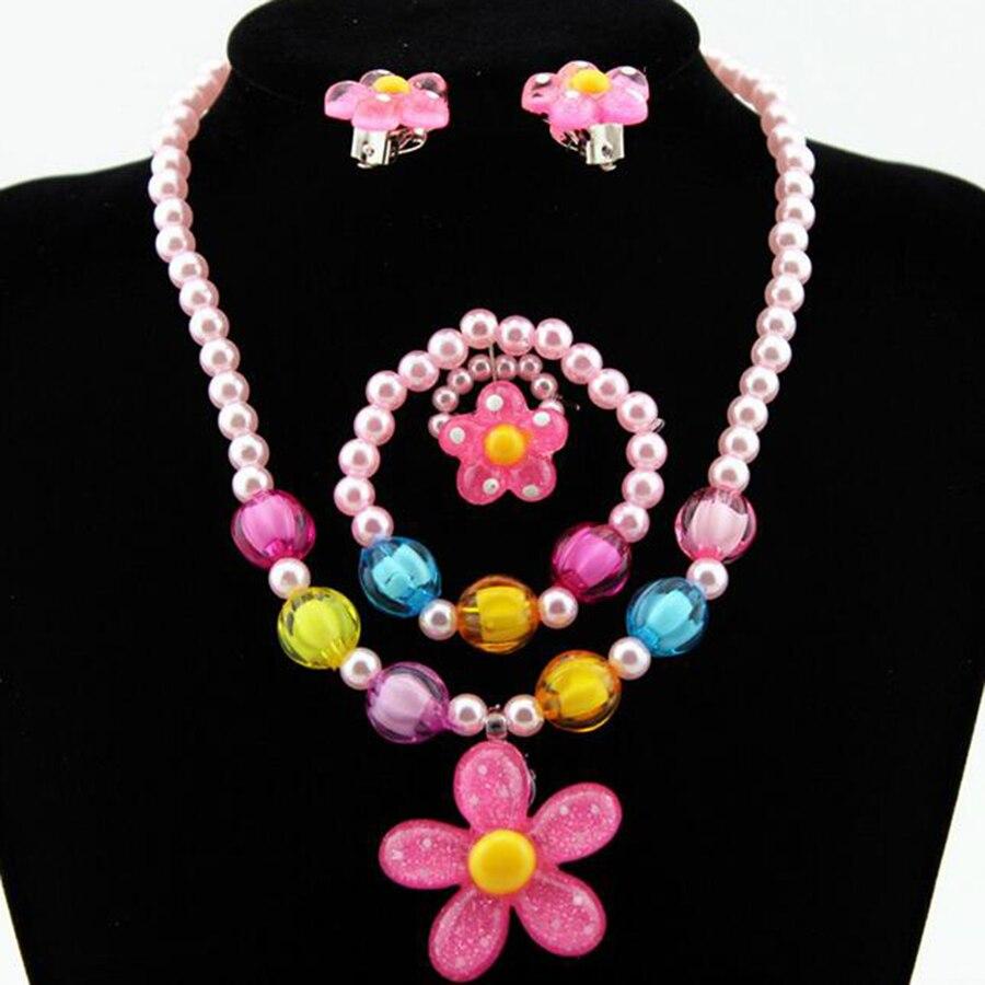 Candy Beads Resin Plastic Kids Jewelry Set for Children Flower Pendants Cute Necklace Bracelet Ring Earrings Baby Jewelry T140