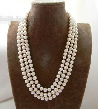 """3Strands 9-10mm White Round Freshwater Pearl Mabe clasp Necklace 18"""""""