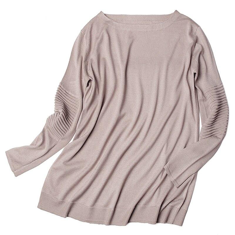 Fino Mujer Otoño Única Cuello De Primavera Cabra Moda Cachemir Color 100 Tejido Suelto Barco Ancho Caqui Talla Suéter YqBPHW