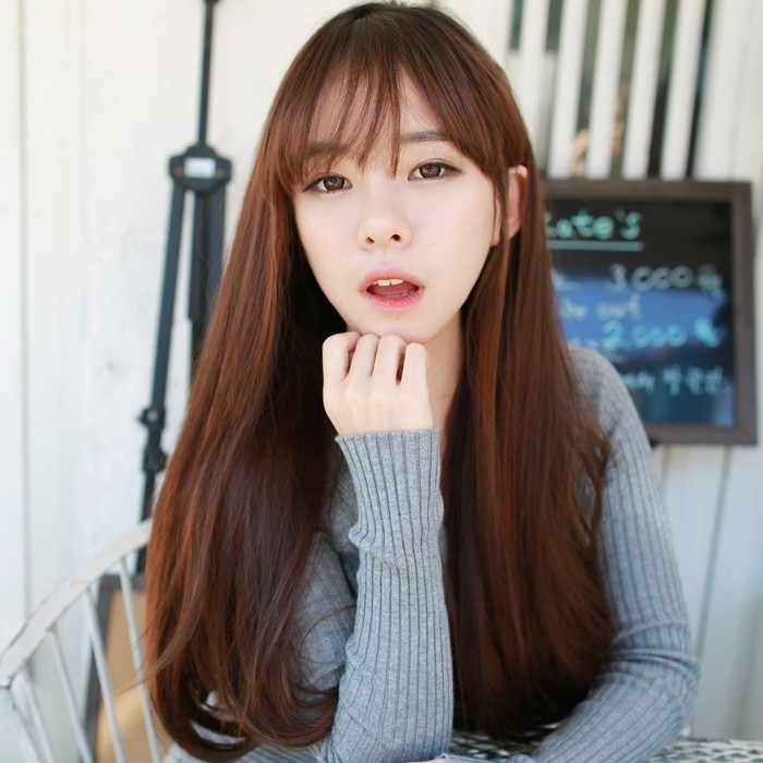 Korean Air Bangs Long Hair Wig Female Wig Long Straight Hair Repair