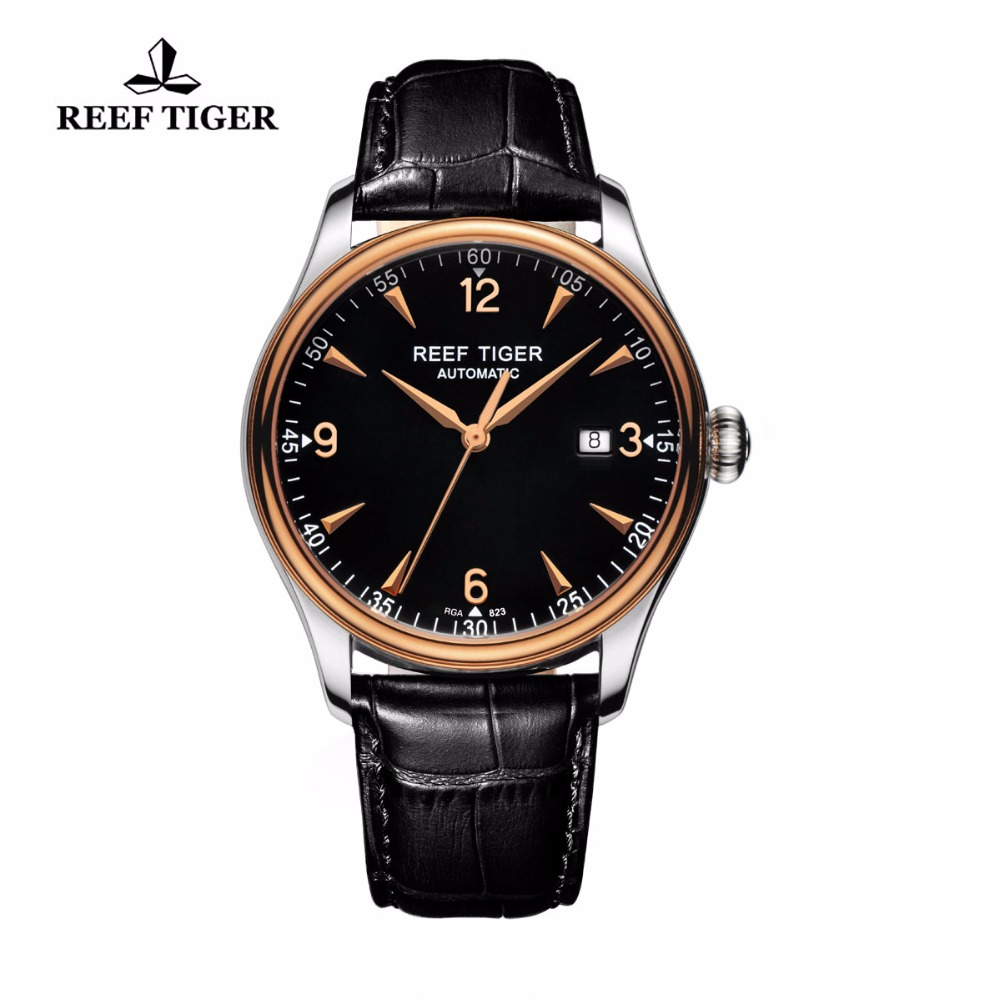 Reef Tiger /RT Watches Dress Automatic Watches for Men Stainless Steel Rose Gold Watches with Date Free Shipping RGA823 yn e3 rt ttl radio trigger speedlite transmitter as st e3 rt for canon 600ex rt new arrival