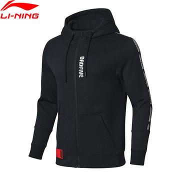 Li-ning Men BAD FIVE koszykówka seria sweter z kapturem 82 bawełna 18 poliester regularny krój LiNing Sport swetry AWDP045 MWW1540 tanie i dobre opinie Pasuje prawda na wymiar weź swój normalny rozmiar Flexible