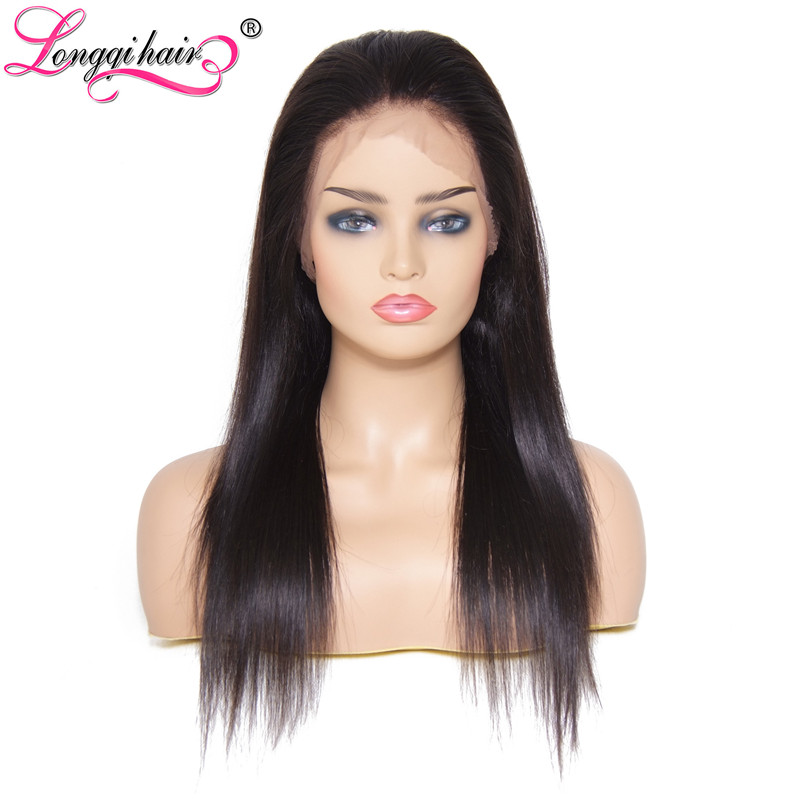 Longqi  Full Lace Human Hair Wigs Brazilian Straight Remy Hair With Baby Hair Pre Plucked  Swiss Lace 180% 150% For Black Women(China)