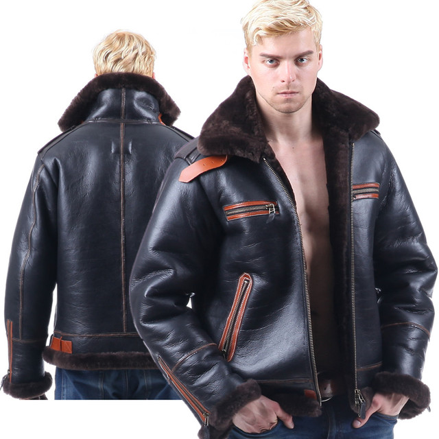 569fdd98ad0 B3 shearling Bomber Fur military pilot World II Flying aviation air Leather  jacket Environmental protection of leather Men s B6