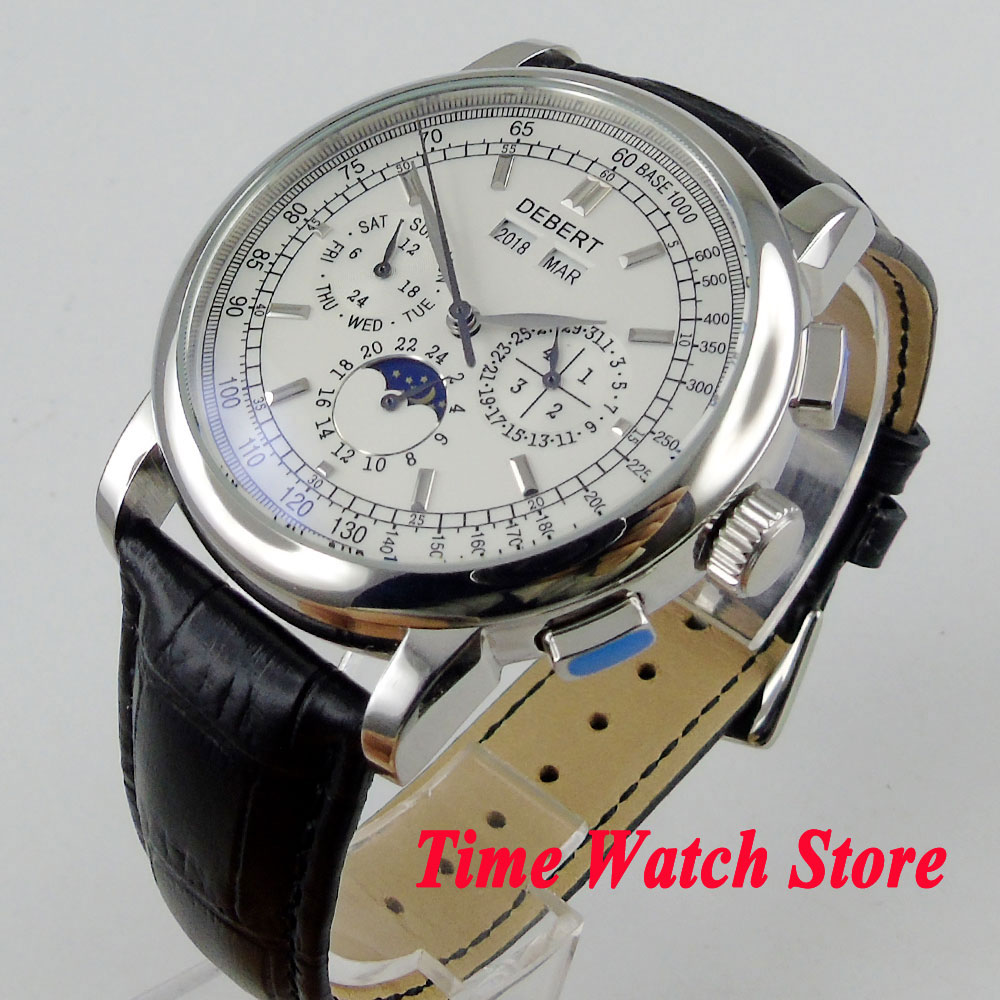 42mm mens watch white dial silver hand Multifunction date week day night display Automatic wrist watch men DE9642mm mens watch white dial silver hand Multifunction date week day night display Automatic wrist watch men DE96