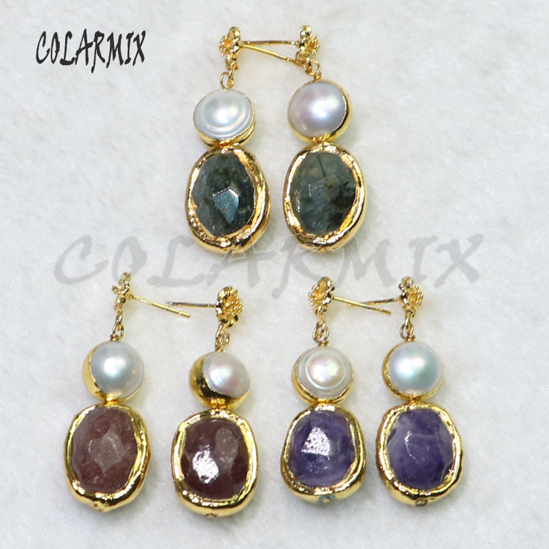 3 Pairs Stone earrings Gold color plated  Natural stone earrings Mix color jewelry earrings gift for lady 6086