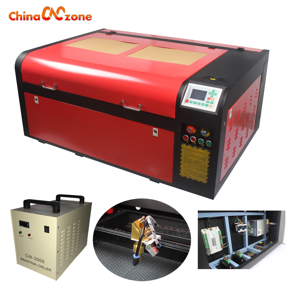 6090 100W laser cutter machine 900*600mm Laser Engraving with CW3000 Water Chiller and Rotary Motorize up and down table fiber laser mark machine lift worktable laser mark machine lead head up and down system lift system height 600mm 800mm