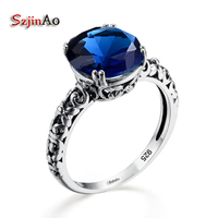 Szjinao Trendy Fashion Promotion Clear Delicate Antique Blue Stone Crystal Ring 925 Sterling Silver Restoring Ancient Jewelry