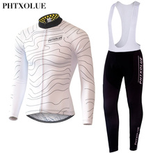 Phtxolue Summer Autumn Mens Long Sleeve Cycling Jerseys Sets Breathable 3D Padded Bicycle Sportswear Clothing XS To 4XL