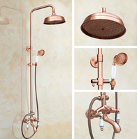 Promo Juego de grifo de ducha de baño de cobre rojo antiguo mezclador de grifos de pared