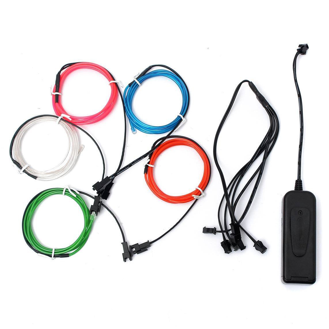 5x1m EL Wire EL Cable Neon Lightning Light Cord For Christmas Party Rave Parties Halloween Costume + Battery Box, Five Colors