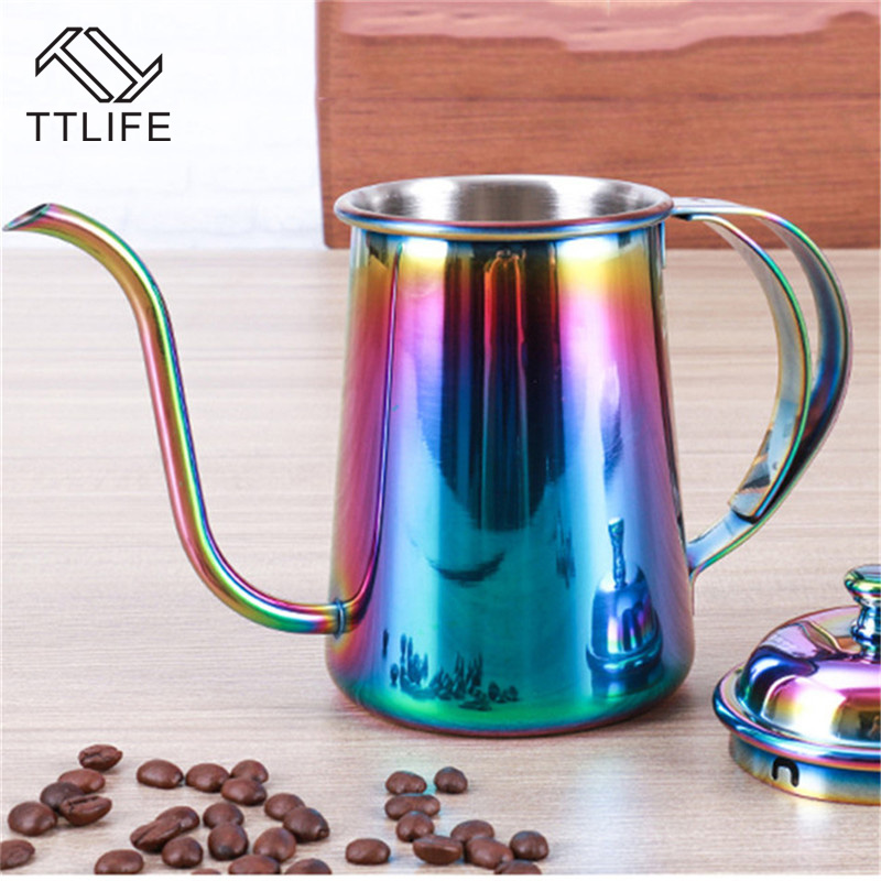 TTLIFE 650ML Stainless Steel Gooseneck Spout Kettle Drip Coffee Kettle Colorful Coffee Pot Long Mouth Coffee