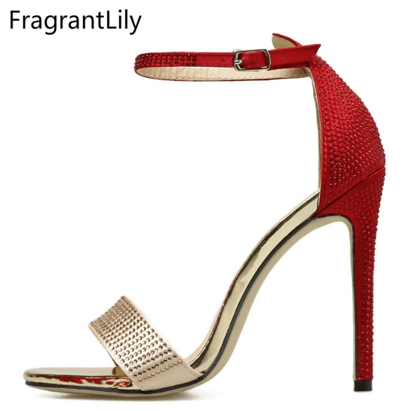 FragrantLily 2018 Hot new women high-heeled sandals A word with a cross-colored diamond with fine high-heeled woman sandals