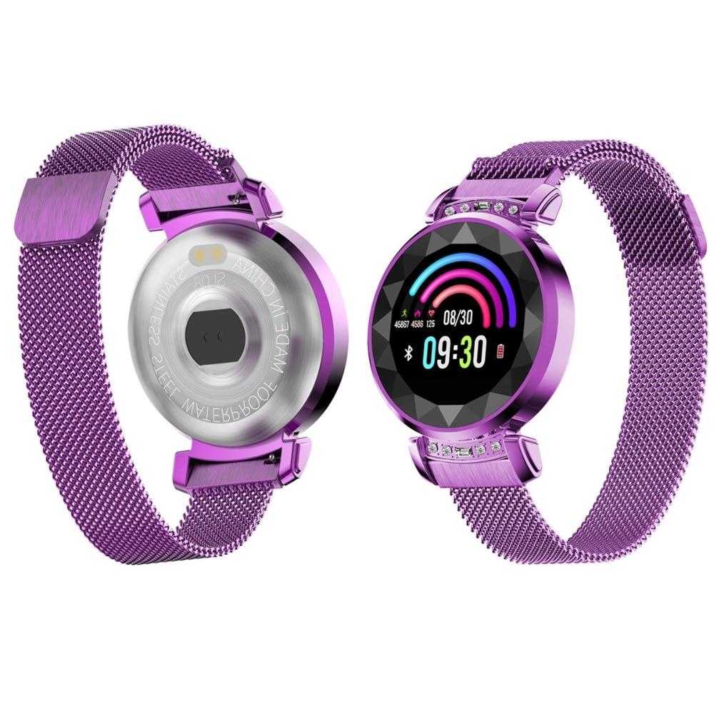 696 mode femmes H2 Plus montre intelligente fréquence cardiaque pression artérielle étanche moniteur de sommeil 3D diamant verre dame Smartwatch