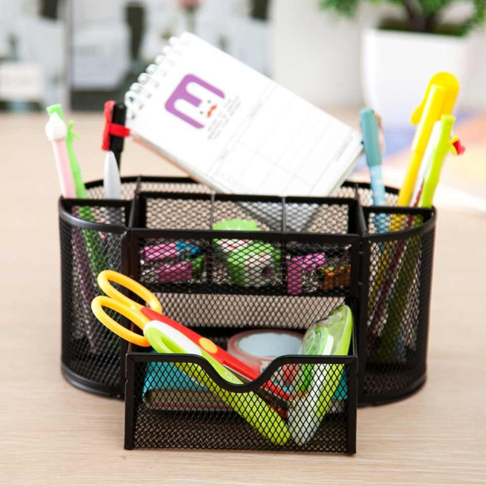 9 Cell Metal Mesh Stationery Organizer Office Pen Pencil Holder Desk Storage Box for Scissors Ruler School Supplies Accessories