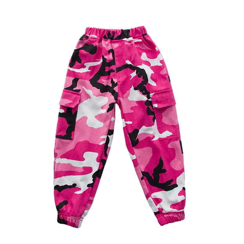Розовая камуфляжная одежда для бальных танцев в стиле хип-хоп детская джазовая улица хип-хоп танцевальный костюм футболка штаны костюм для детей мальчиков и девочек - Цвет: Long Pants