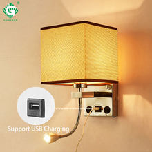 Modern Indoor LED Wall Lamp Bedside Bedroom Applique Sconce With Switch USB E27 Bulb Interior Headboard Home Hotel Wall Lights(China)