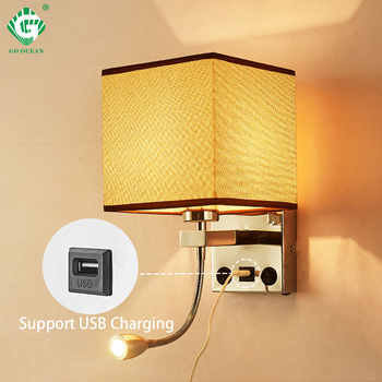 Modern Indoor LED Wall Lamp Bedside Bedroom Applique Sconce With Switch USB E27 Bulb Interior Headboard Home Hotel Wall Lights - DISCOUNT ITEM  23% OFF All Category