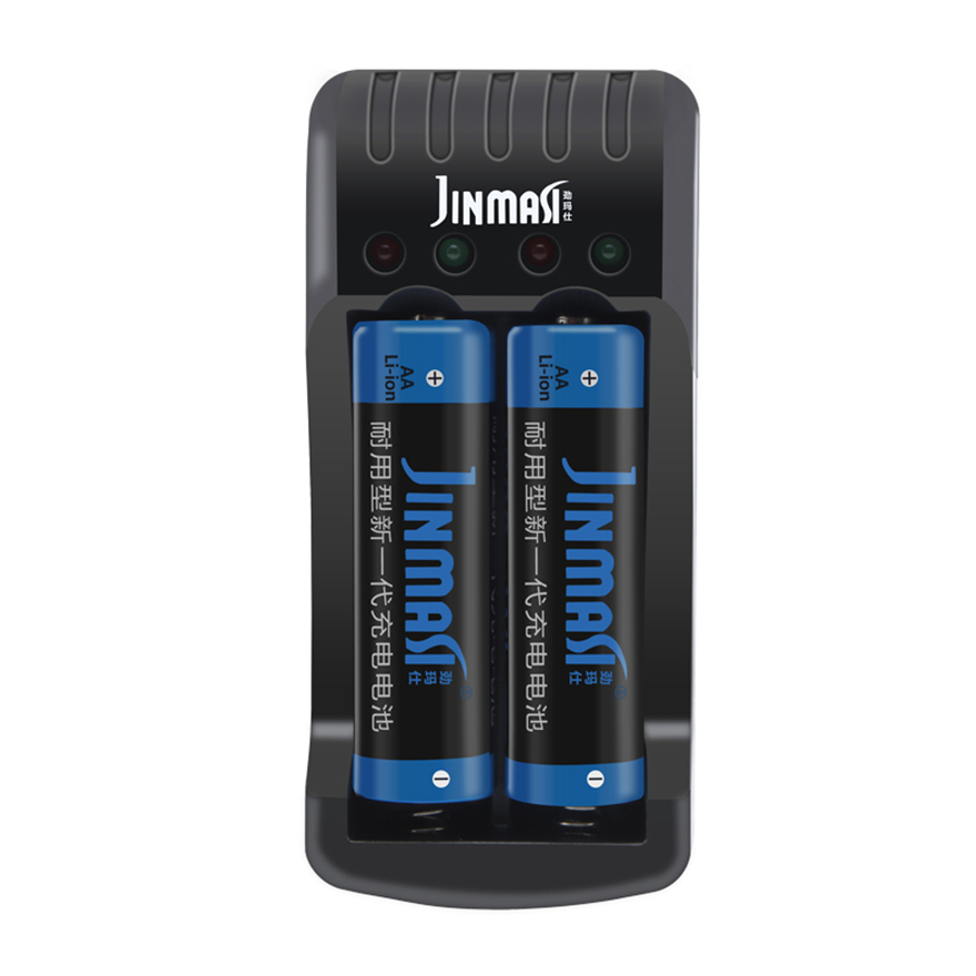 2PCS Constant Voltage High Power 1.5v 3000mWh AA Rechargeable Battery Camera Lithium Battery + 2 Slot USB Smart Charger