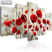 Full Square Drill Diamond Embroidery Poppy Flowers 5D DIY Diamond Painting Cross Stitch Multi Picture