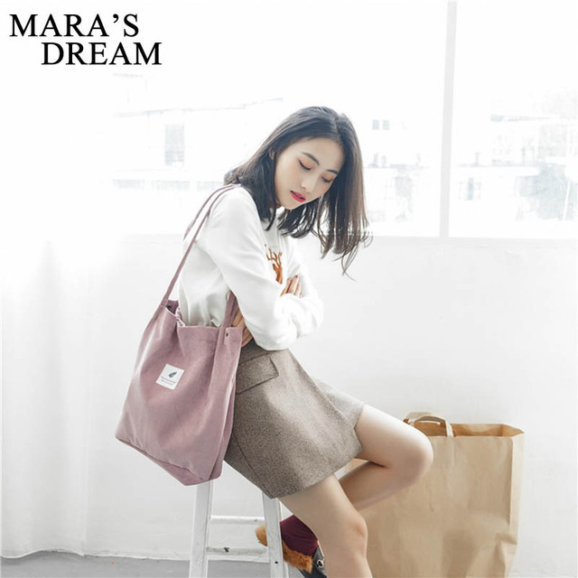 Mara's Dream High Capacity Women Corduroy Tote Ladies Casual Solid Color Shoulder Bag Foldable Reusable Women Shopping Beach Bag 2