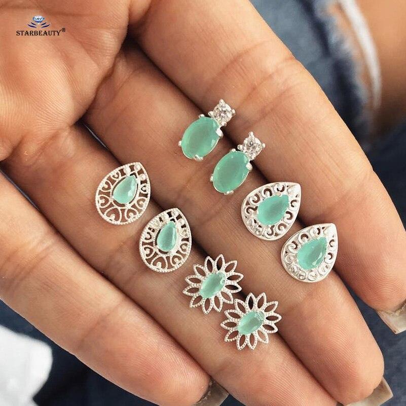 4Pairs Water Drop Crystal Zirconia Stud Earrings Women Boho Jewelry Earring  X