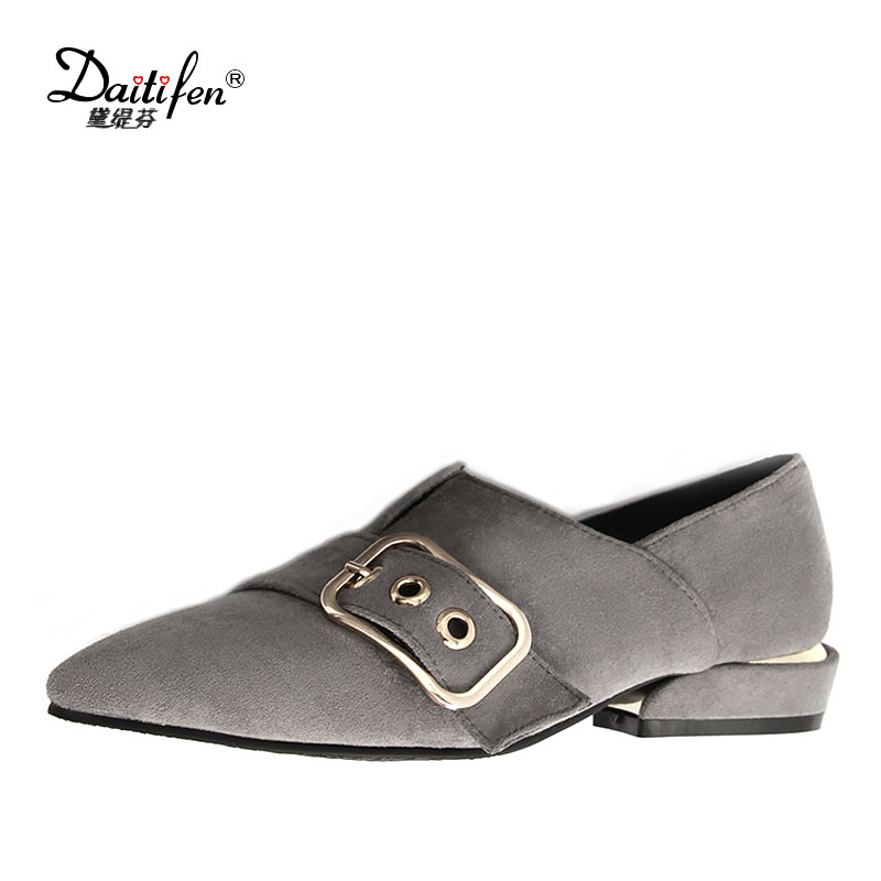 Daitifen 2018 Spring Elegant Mental Buckle Pointed Toe Ladies Flat Shoe Fancy Flock Shoes Women Flats Casual Slip-on Women Flats eiswelt shoes spring summer fashion rivet flats party pointed flock women shoes wedding shoes glitter flat ladies shoes zjf84