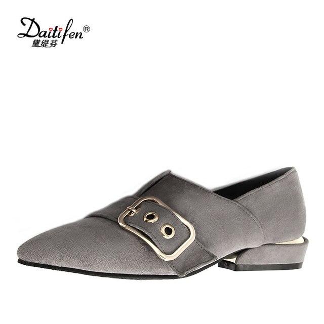 c4aa577b9de Daitifen 2018 Spring Elegant Mental Buckle Pointed Toe Ladies Flat Shoe  Fancy Flock Shoes Women Flats Casual Slip-on Women Flats