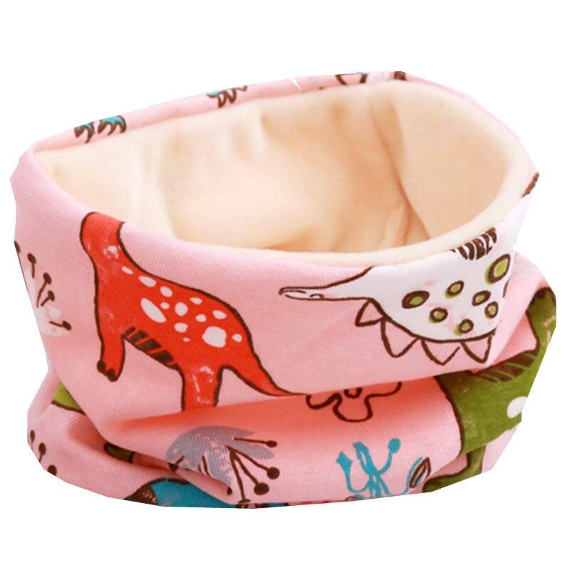 Осенне-зимний детский хлопковый плюшевый шарф, детский шарф для девочек, шарфы для мальчиков и девочек, детский воротник, детский волшебный шейный платок с круглым вырезом - Цвет: pink dinasour
