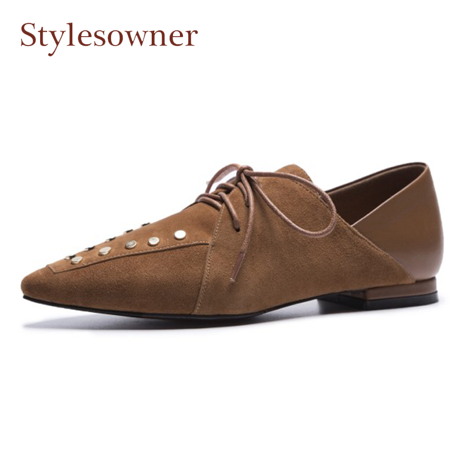 Stylesowner rivet suede leather flats shoes for women british style pointed toe lace up two wear fashion all match causal shoes