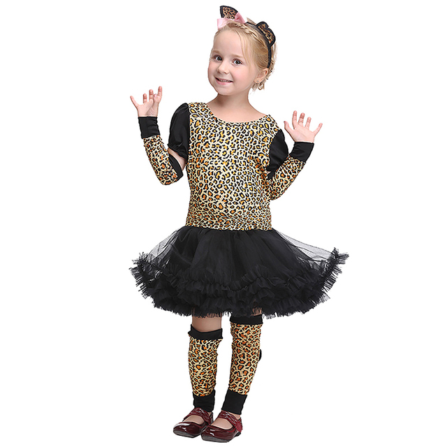 ed8601d01cf6 Little Girls Cute Leopard Costume Kid Short Sleeves O-Neck Tutu Dress Child  Animal Cosplay