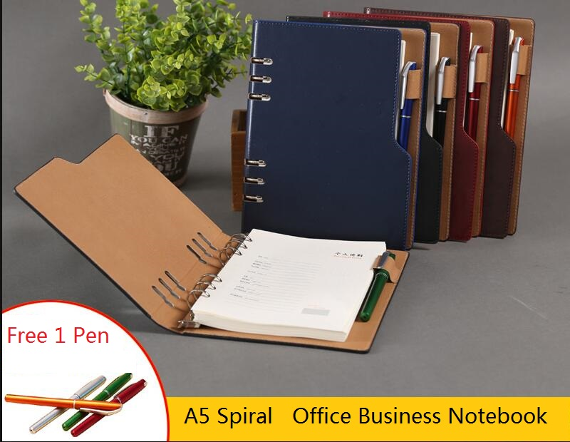 Business Office A5 Loose Leaf Faux Leather Notebook with Free Pen, Spiral Journals Filofax Agenda Portfolio Organizer Planner