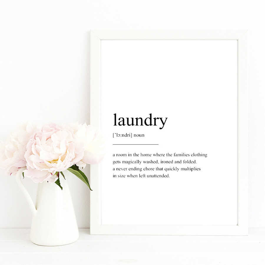 Nordic Minimalist Laundry Quotes Posters Black and White Wall Art Canvas Prints Scandinavia Home Living Room Decorative Pictures