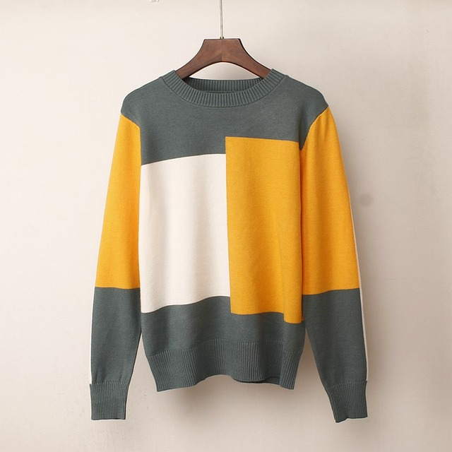 Women's Knitted Multicolor O-Neck Loose Warm Sweater