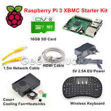 On sale Raspberry Pi 3 XBMC KODI OSMC Media Center Kit RF Remote Case 16GB SD Card Network Cable Case Cooling Fan 5V 2.5A Power Supply