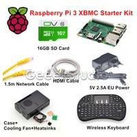 Raspberry Pi 3 XBMC KODI OSMC Media Center Kit RF Afstandsbediening Case 16 GB Sd-kaart Netwerk Kabel Case Koelventilator 5 V 2.5A Voeding