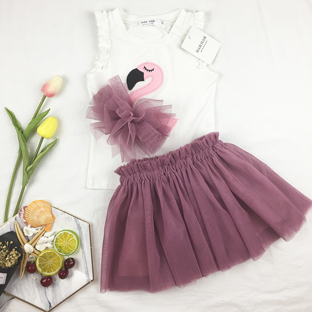 Ins hot kids skirts T-shirts flamingo pattern girls clothing fashion sets baby  girl clothes party tutu princess dresses skirts 7cf0e74617b7