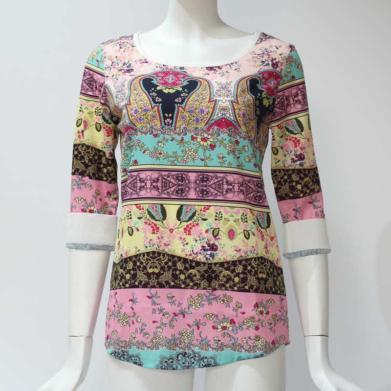 Rogi קיץ נשים חולצות בציר שבטי הדפסת שיפון חולצה שלושה שרוול רבעון O-צוואר Boho חולצות חולצות Blusas Femininas XXL
