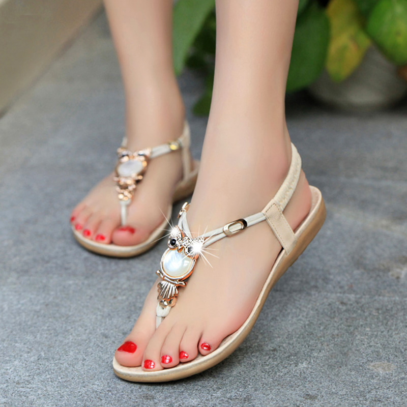 2017 New Summer Style Casual Sandals Women Rhinestone Flat Heel Ladies Shoes Owl Design Female Bohemia Beach Shoe Plus Size