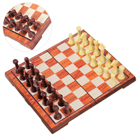 iBaseToy 2 in 1 Magnetic Travel Chess Checkers Set Classic Folding Board Game Set Portable Educational Toys for Kids and Adults