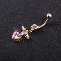 Brand Gold Color Belly Button Rings Pink Zircon Heart Angel Wings Jewelry Navel Bar Body Piercing