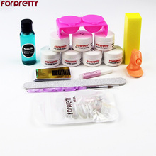 FREESHIPPING Full Set DIY Acrylic Nail Kit with Powder Liquid Cup / pen  block Wholesale