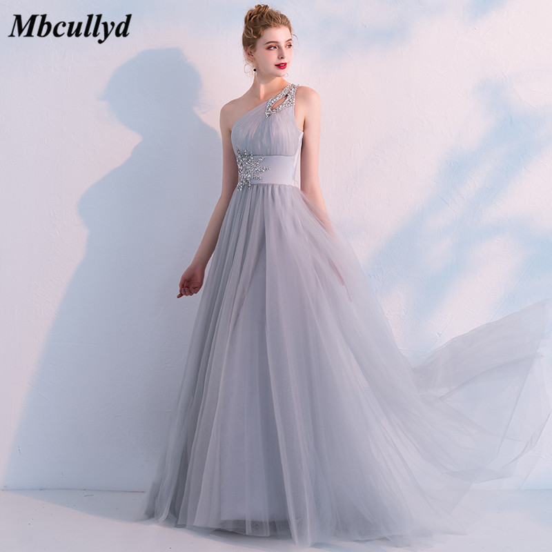 Mbcullyd Sexy One Shoulder   Bridesmaid     Dresses   2018 Long Backless Light Grey Maid of Honor   Dress   New Wedding Guest Party Gowns