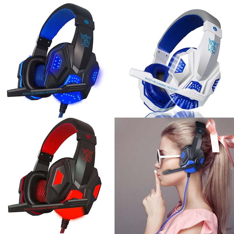 OOTDTY Headphone Earphone USB 3.5mm Surround Stereo Gaming Headset Headband with Mic For PC
