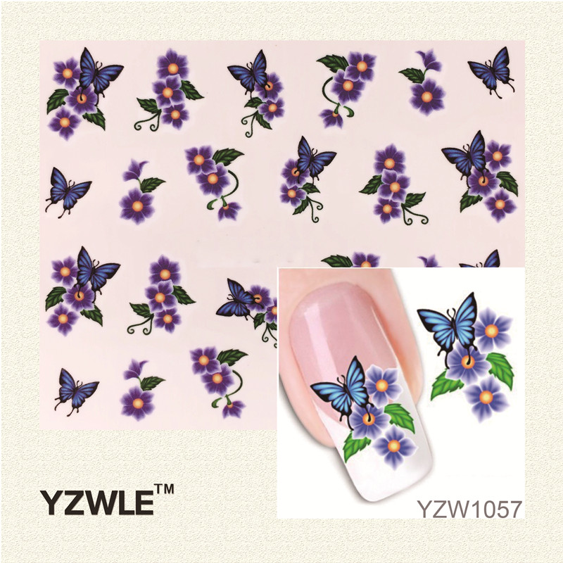 YZWLE 1Pcs Nail Art Water Sticker Nails Beauty Wraps Foil Polish Decals Temporary Tattoos Watermark flash tattoos sheebani authentic metallic temporary tattoos